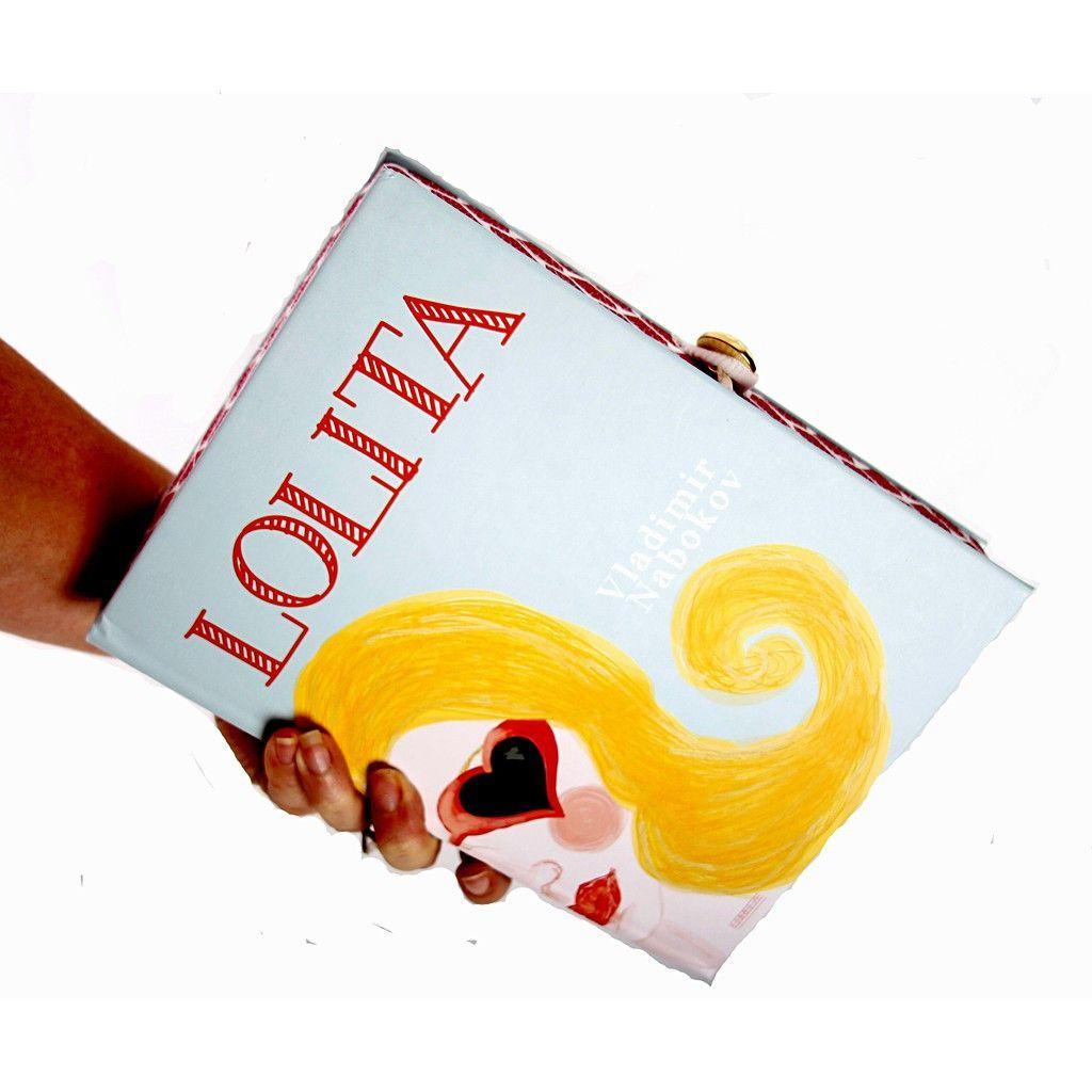 Lolita Book Clutch | KIMLUD.COM  Lolita book clutch with red/white cotton fabric. Gold gem closure.
