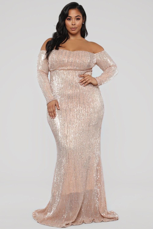 Plus size got class sequin dress rose fashion ootd
