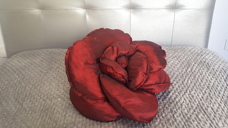Rubin Red Colour Cushion Luxury Pillow Unique Flower Shaped Pillow