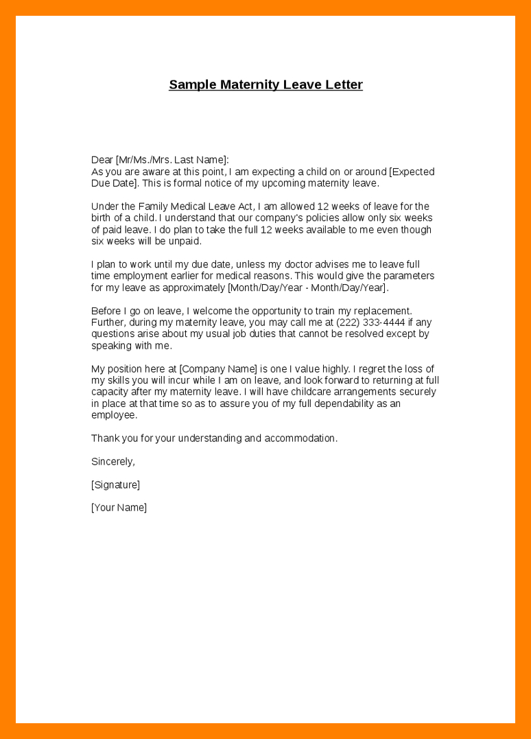 Application Sample For Leave Captivating 12 Maternity Leave Application Letter For Office Edu Techation .