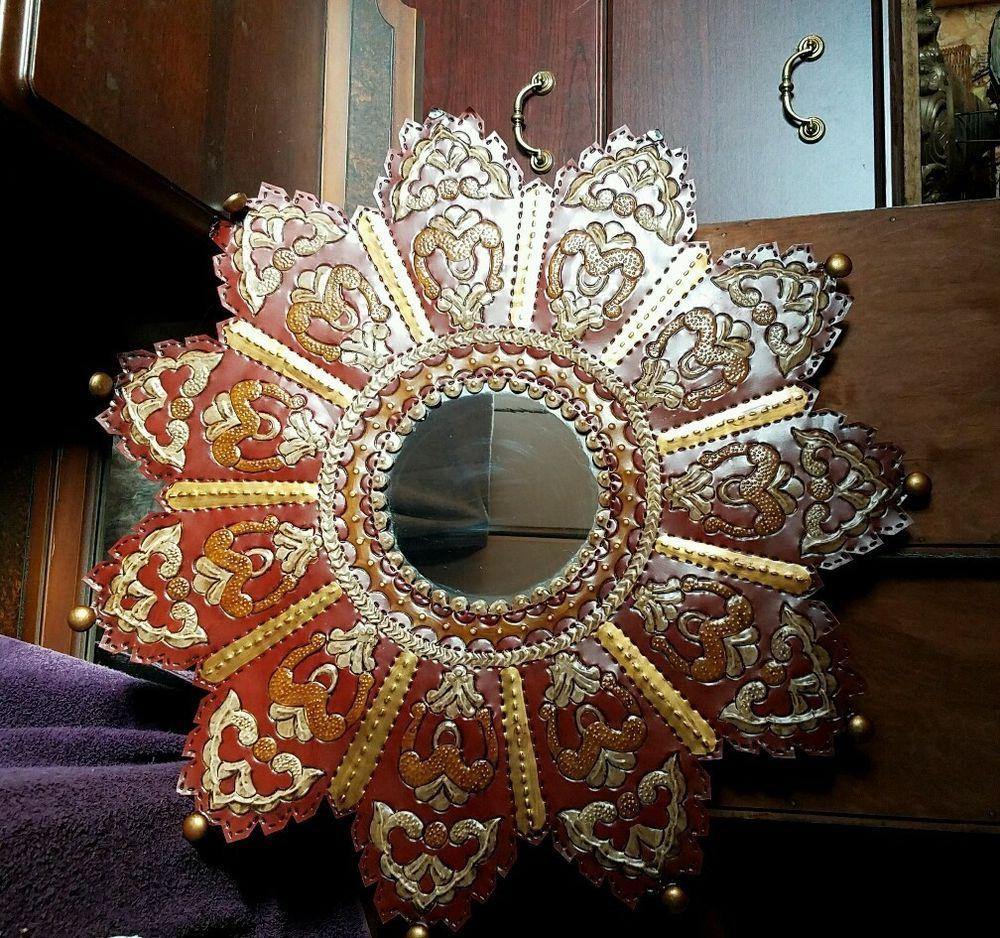 Elegant VINTAGE ESTATE BAS RELIEF ART DECO 28 TIN STAR FRAMED MIRROR HECHO EN MEXICO