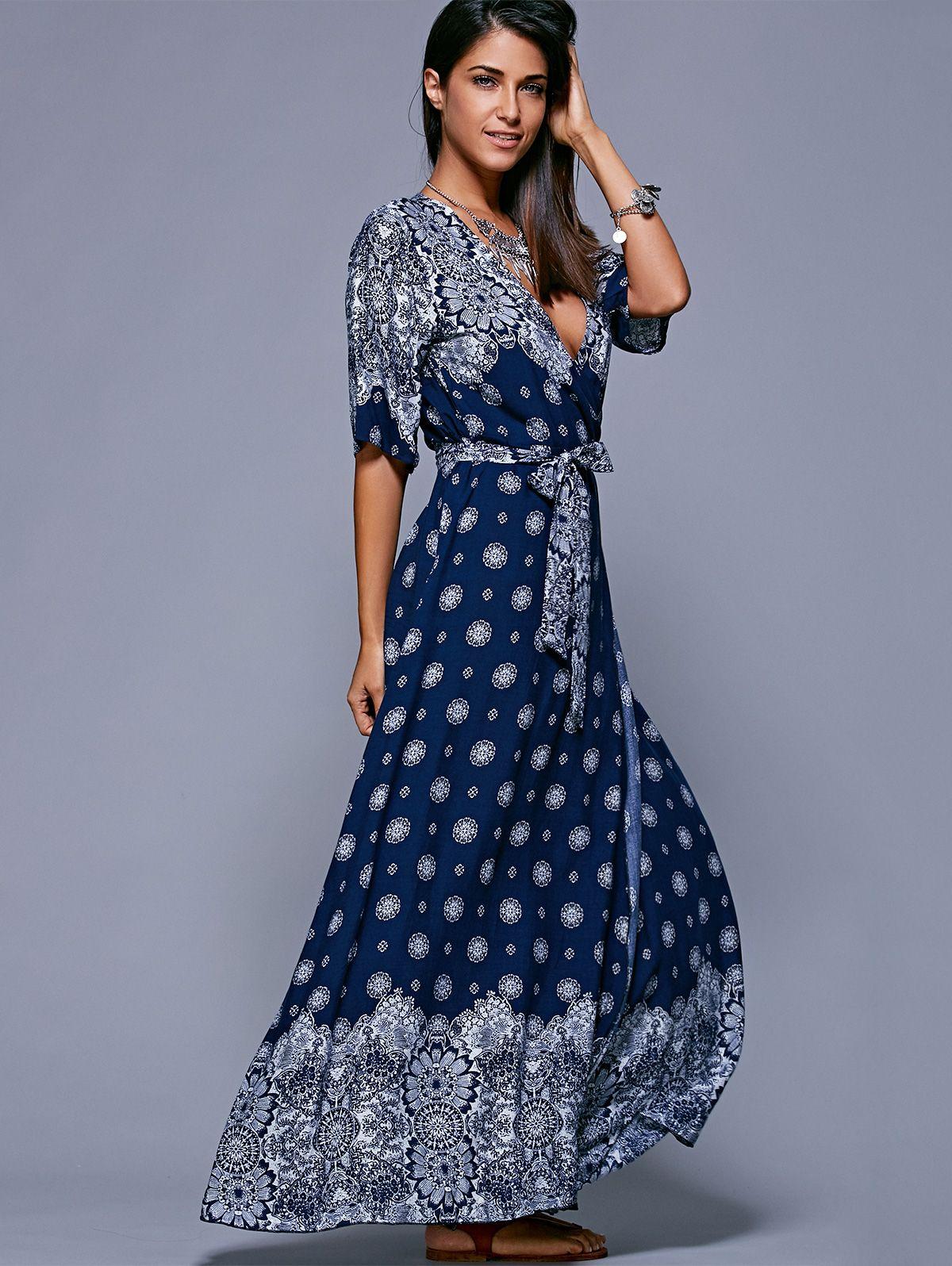 Slit Print Long Flowing Wrap Plunge Dress Modest outfits Fabrics