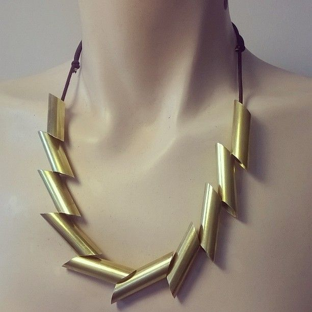 Quill necklace going for gold Handmade by MUVA Now in stock and