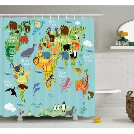 Great Wanderlust Decor Shower Curtain Set, Animal Map Of The World For Children  And Kids Cartoon Mountains Forests, Bathroom Accessories, X Inches, By  Ambesonne