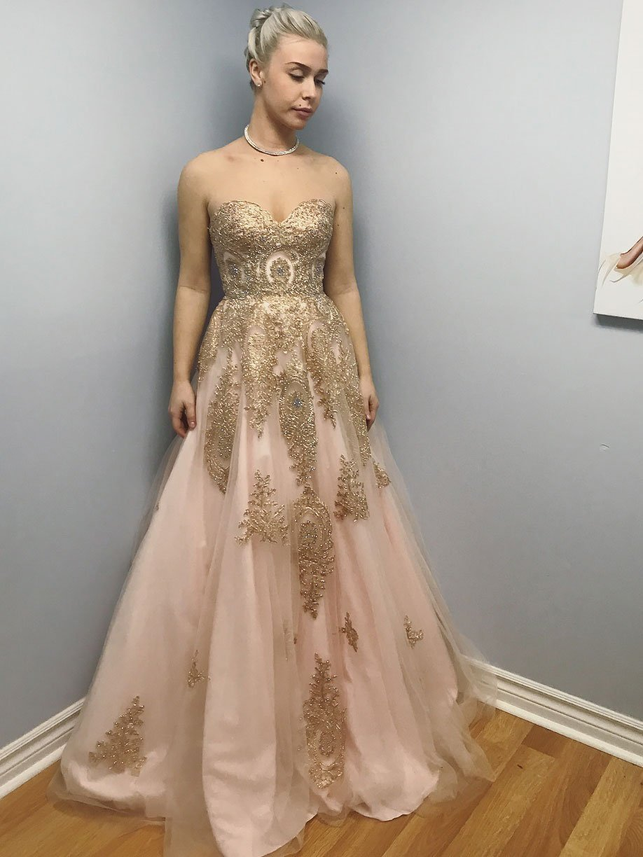 Wedding dress donations for military brides  Strapless Gold Appliqued Prom Dresses Long Sexy Cheap Quinceanera