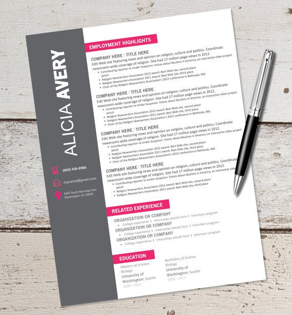 Little Hints Of Color  Resume And Business Card Inspiration