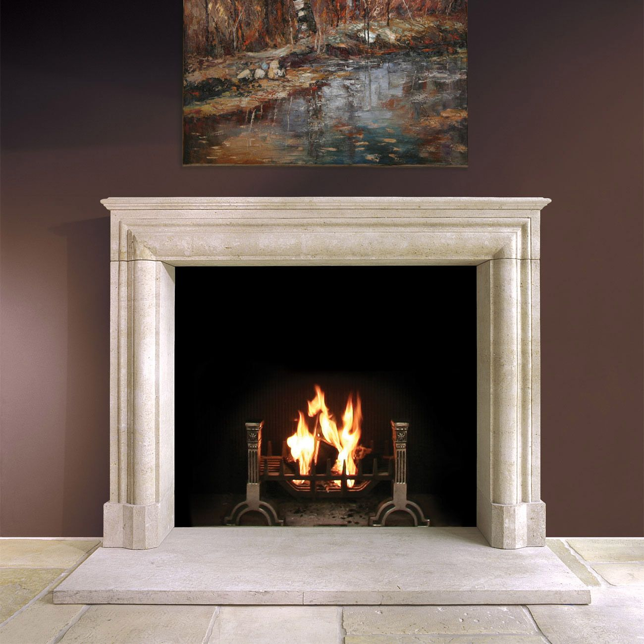 Stone fireplace surround and Fireplace surrounds