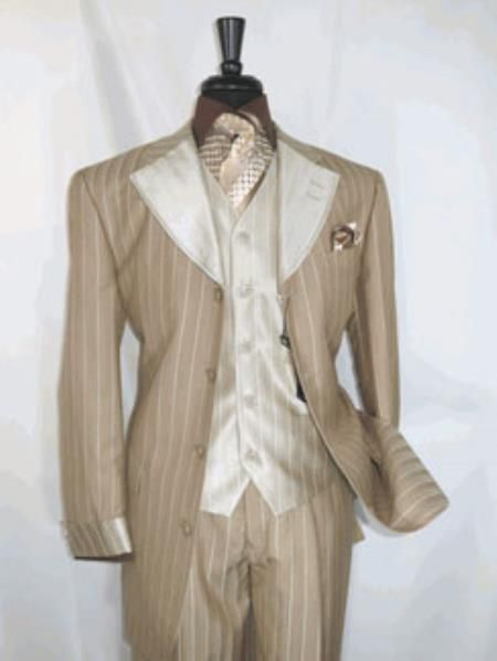 Four buttons Single Breasted Tan Pinstripe Suit