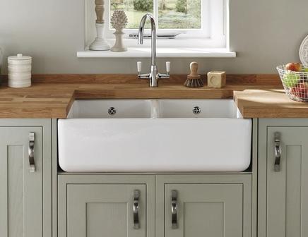 Best Lamona White Ceramic Double Belfast Sink Sink 400 x 300