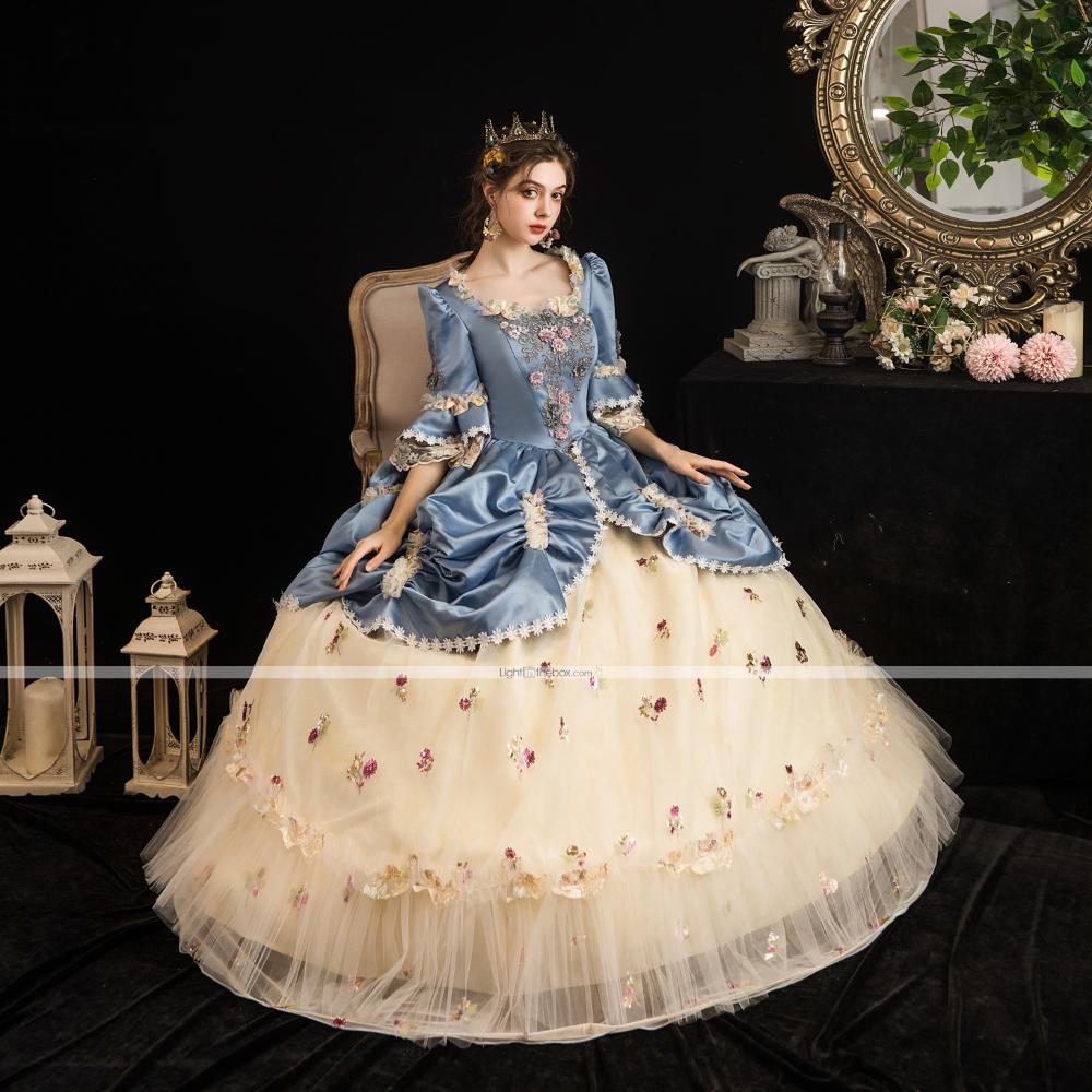 Maria Antonietta Rococo Baroque Victorian Vacation Dress Dress Party Costume Masquerade Prom Dress Women S Tulle Satin Costume Lightblue Vintage Cosplay Party H Victorian Ball Gowns Victorian Dress Costume Masquerade Ball Gowns [ 1000 x 1000 Pixel ]