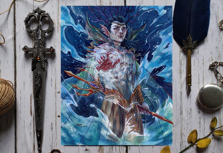 Poseidon Art Greek God Mythology Artwork Poseidon S Etsy In 2020 Fantasy Art Illustrations God Art Fantasy Wall Art