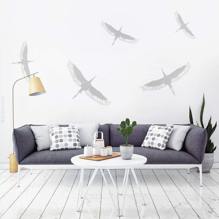 Moderne Wandtattoo Set 5x Storch Vögel Wand Sticker Wandaufkleber W801b