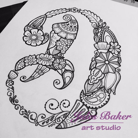 Digital Coloring Page Letter D From By JulesBakerArtStudio