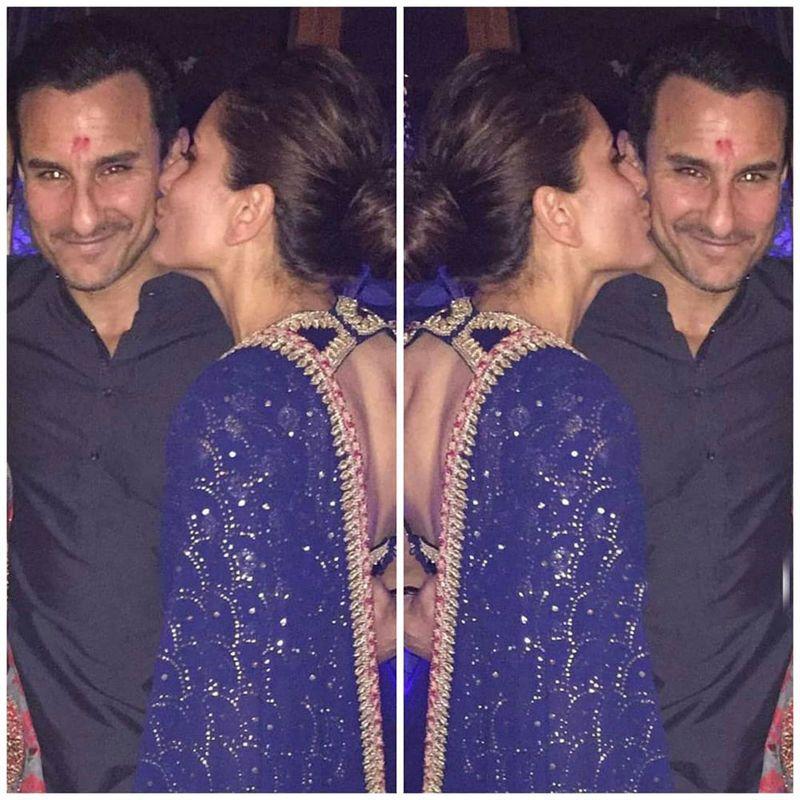Kareenakapoor Plants A Kiss On Saifalikhan S Cheeks As The Nawab Of Pataudi Can T Stop Smiling Kareena Kapoor Wedding Romantic Pictures Wedding Anniversary