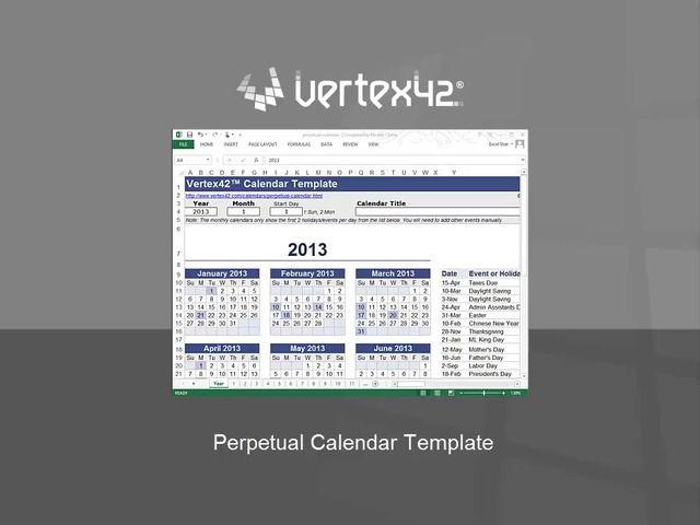 Video Perpetual Calendar Template - Free Perpetual Calendar - perpetual calendar templates