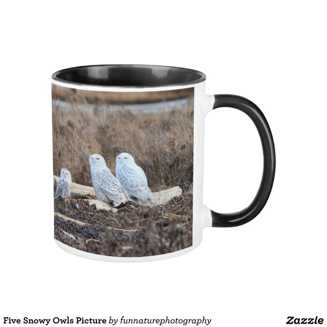 Five snowy owls picture mug picture mugs