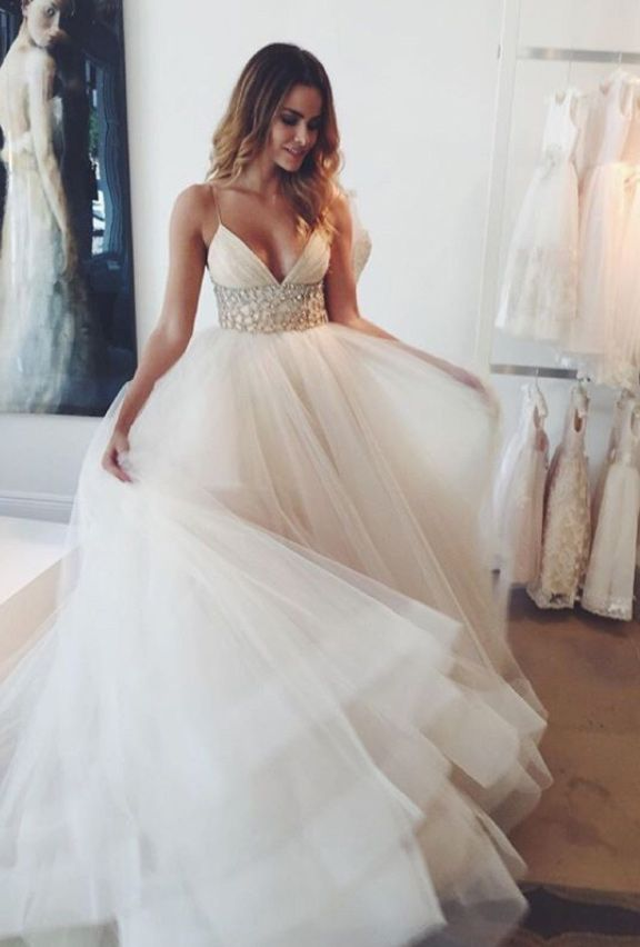 A Line Spaghetti Straps Sweep Train Wedding Dresses With Beading