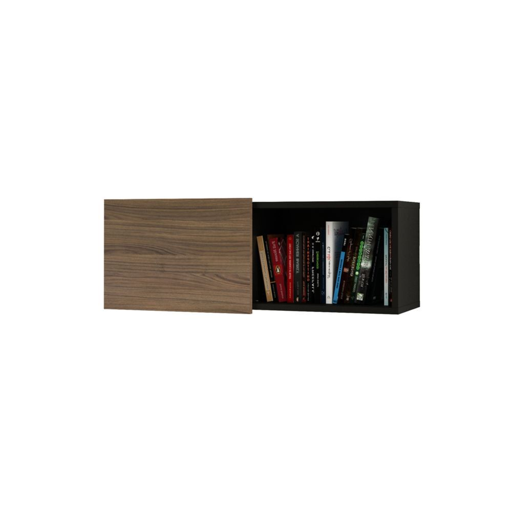 Next 32 Inch X 12 Inch Floating Shelf With Sliding Door In Black And Walnut Wall Shelves Wall Storage Unit