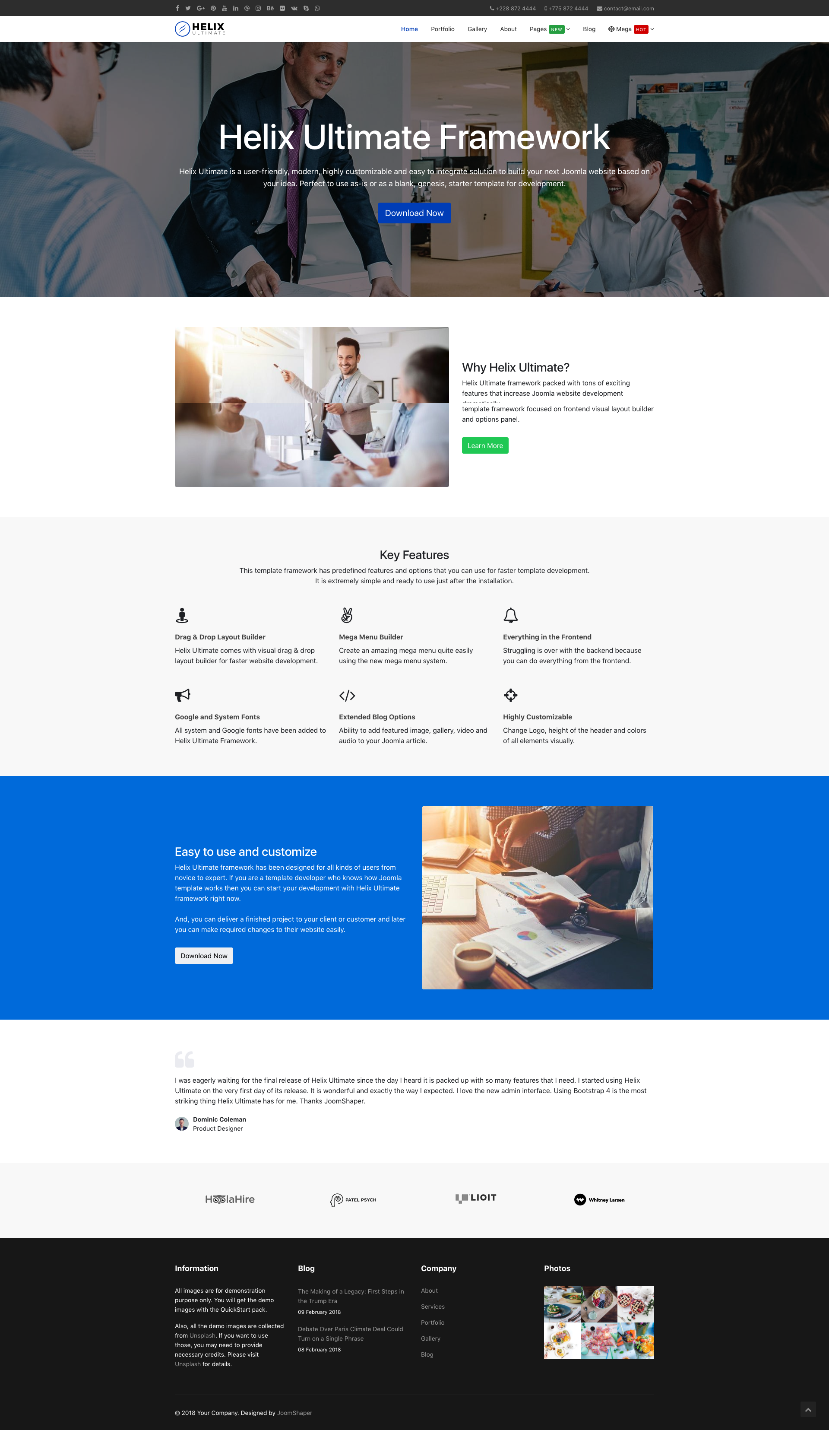 Helix Ultimate Free Universal Joomla Template for any