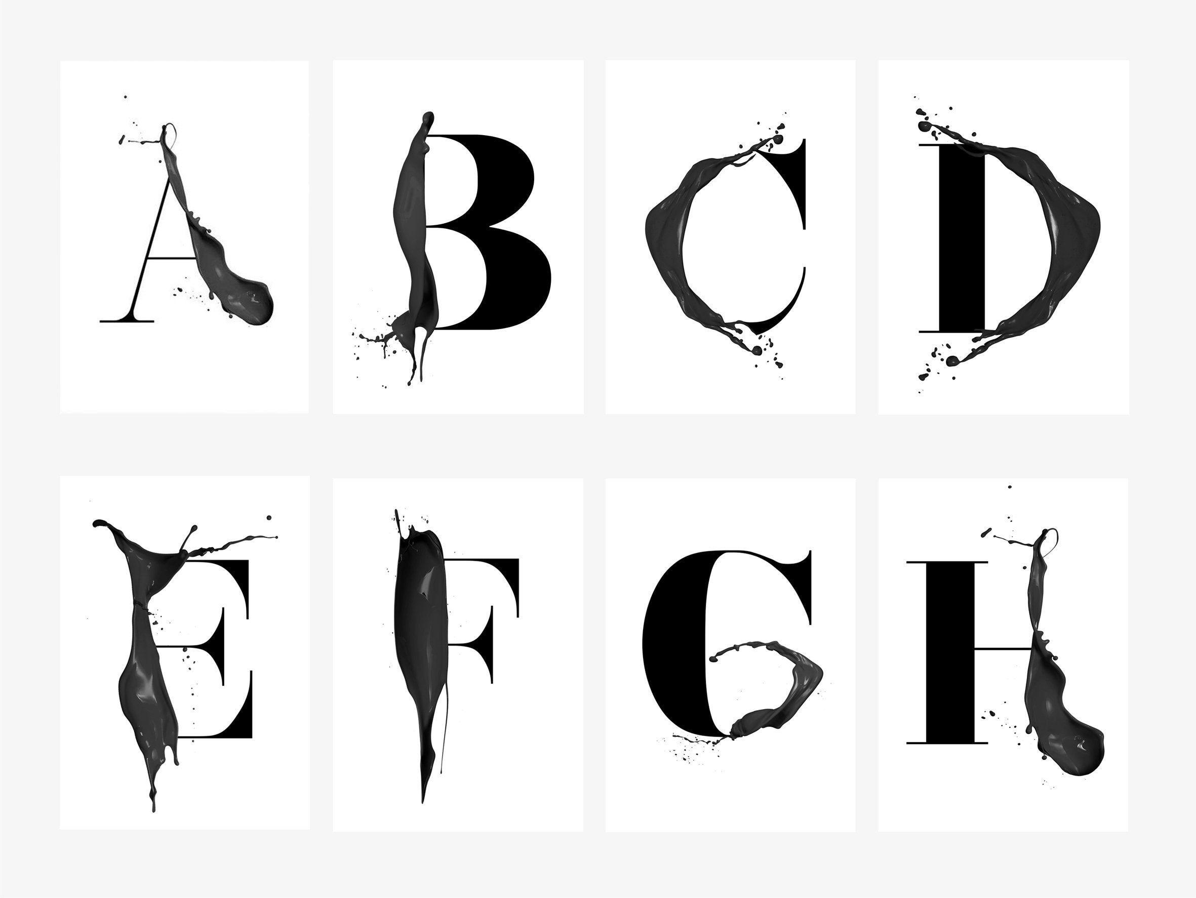 Print / ABC Artsy AZ / Letter Poster Scandi Black White A