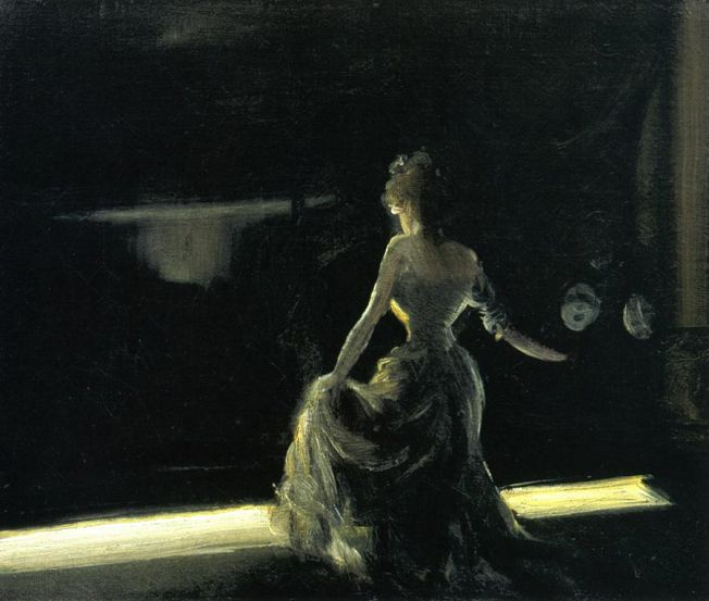 one year one painting a day: Everett Shinn and Girl on Stage