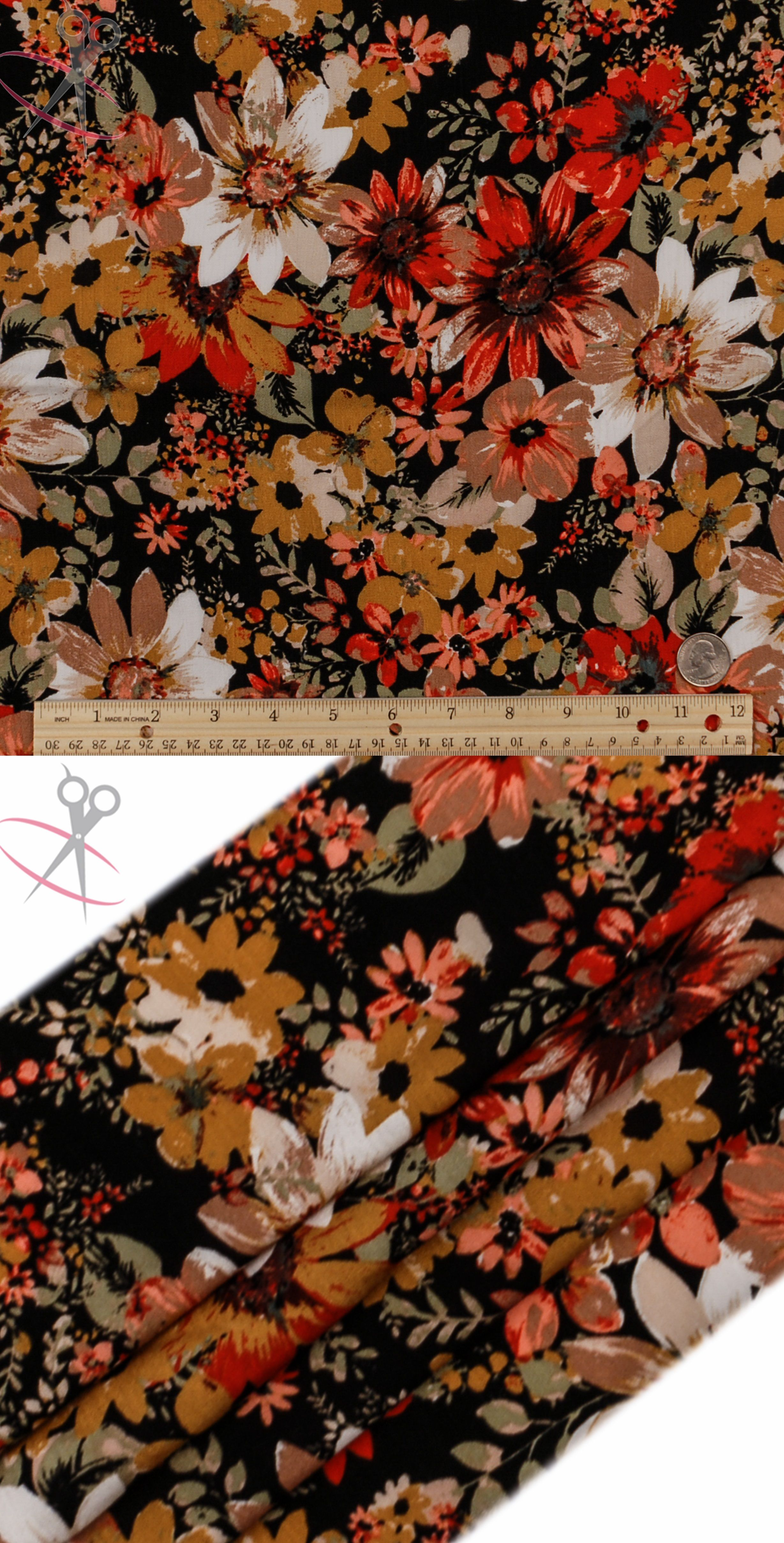 A design inspired by the Fall Season's beauty, we present the Autumn Flower Floral Print. Large Daisies spread across the face of this print, with smaller, rounded daisies falling back behind & under. Off White, Mustard, Coral, Water Cress, Tomato Red & Beige colors are all used atop the all black background. Rayon Crinkle can be the main component in any item of clothing, from dresses and skirts, to scarves and headbands, Rayon Crinkle will provide a perfect look to show off to your…