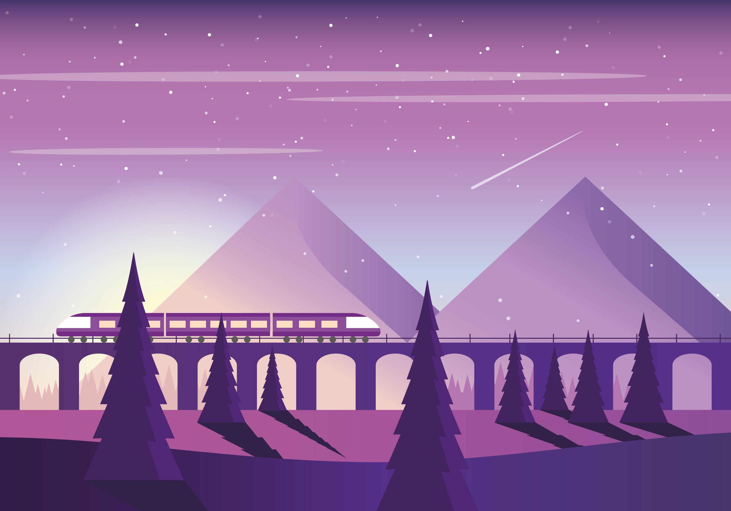 Vector Purple Landscape Illustration Pixel Art Landscape Desktop Wallpaper Art Landscape Illustration
