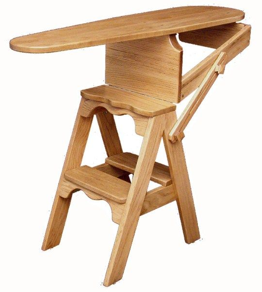 Amish Oak Jefferson Chair, Bachelor Chair, Onit, or Folding Ironing Board  Chair- - Multi-Functional Furnishings For Small Senior Apartments Iron