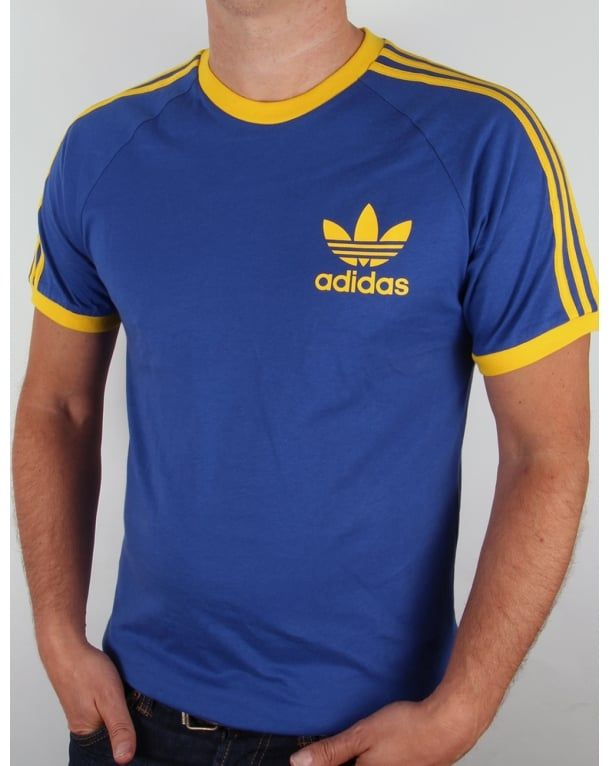 Adidas Originals Trefoil 3 Stripes T-shirt Bold Blue/Yellow,california,retro