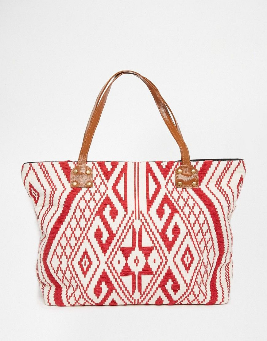 Image 1 of Glamorous Aztec Embroidered Beach Bag | Ciao ...
