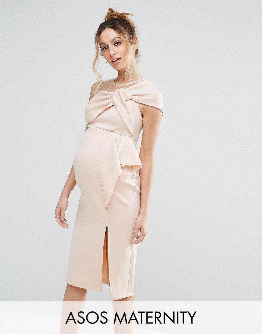 2676d1b2fe3 ASOS Maternity Bow Front Midi Pencil Dress with Mesh Detail - Pink