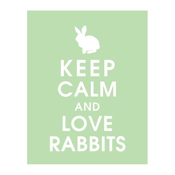 Calming Colors That Will Perfect Your Home: Keep Calm And LOVE RABBITS 11x14 Print Color By
