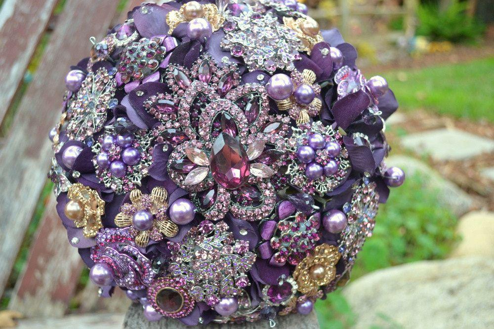 heirloom amethyst brooch bridal bouquet