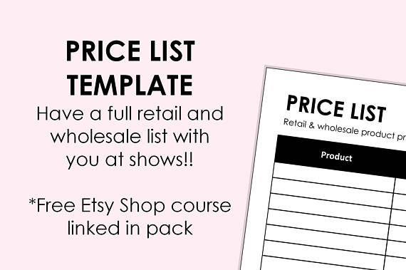 Price List Sheet - printable download A4 size (can be scaled to A5 - Price Sheet Template