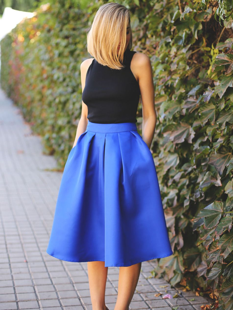 03bb82eb23 Shop Blue Flare Pleated Midi Skirt online. SheIn offers Blue Flare Pleated  Midi Skirt & more to fit your fashionable needs.
