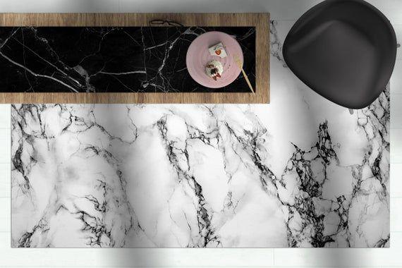 White marble floor mat, Scandinavian rug, Modern rug, Decorative carpet, Linoleum area rug, kitchen mat, Vinyl rug, Minimalist design #whitemarbleflooring