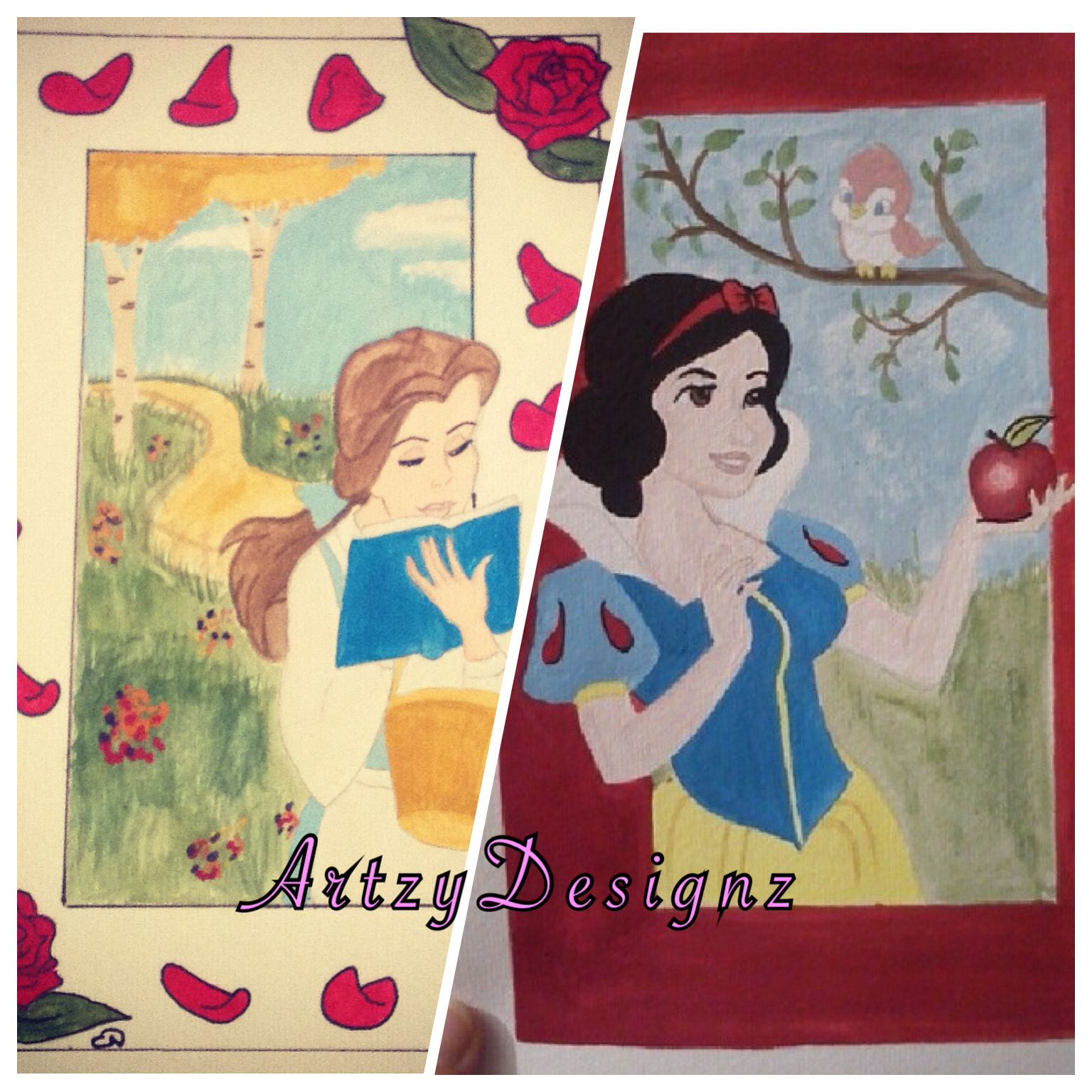 Belle and Snow White watercolour paintings