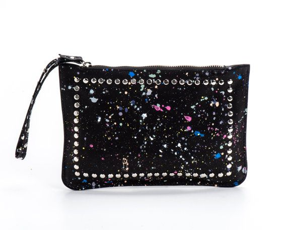 Black Leather and Studs Paint Splatters Clutch