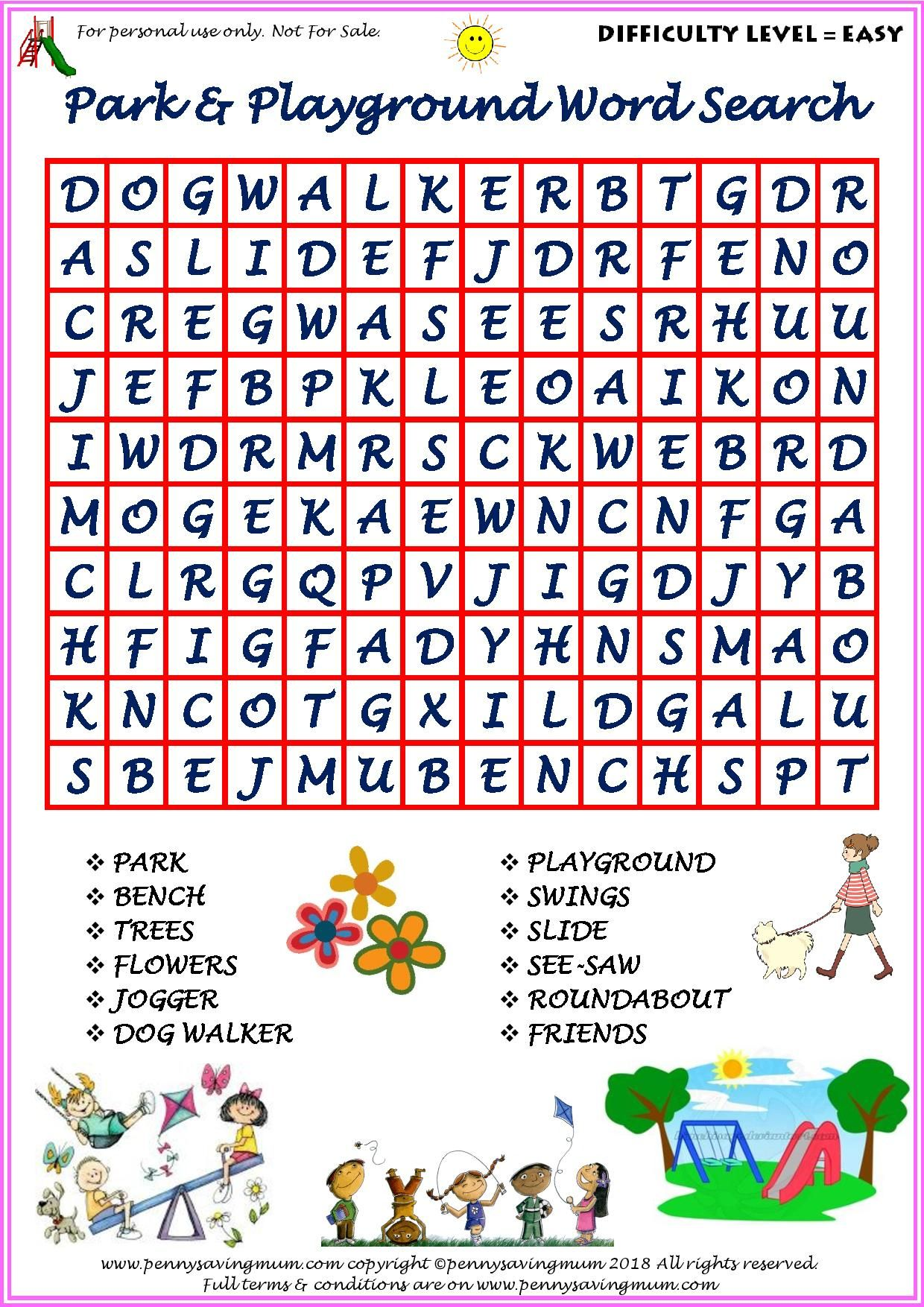 Word Search Park And Playground Easy Version