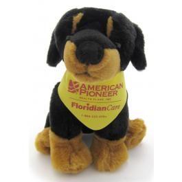 "8"" Sitting Rottweiler Pup w/ Bandana"