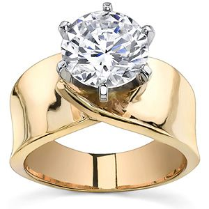 Wide Band Moissanite Solitaire Setting Very Cool Jewelry