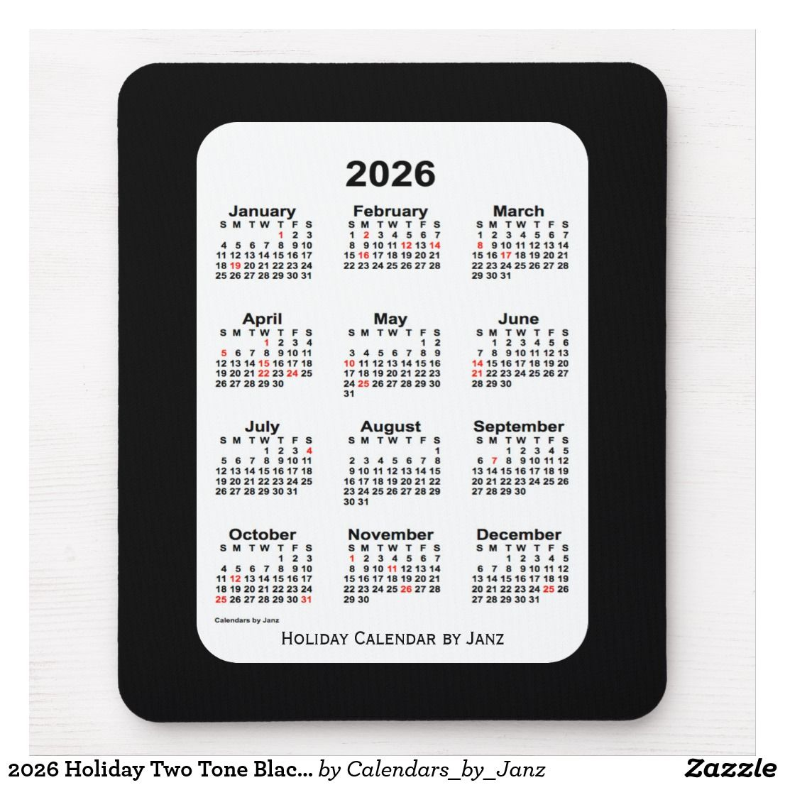 2026 Holiday Two Tone Black Calendar By Janz Mouse Pad Zazzle