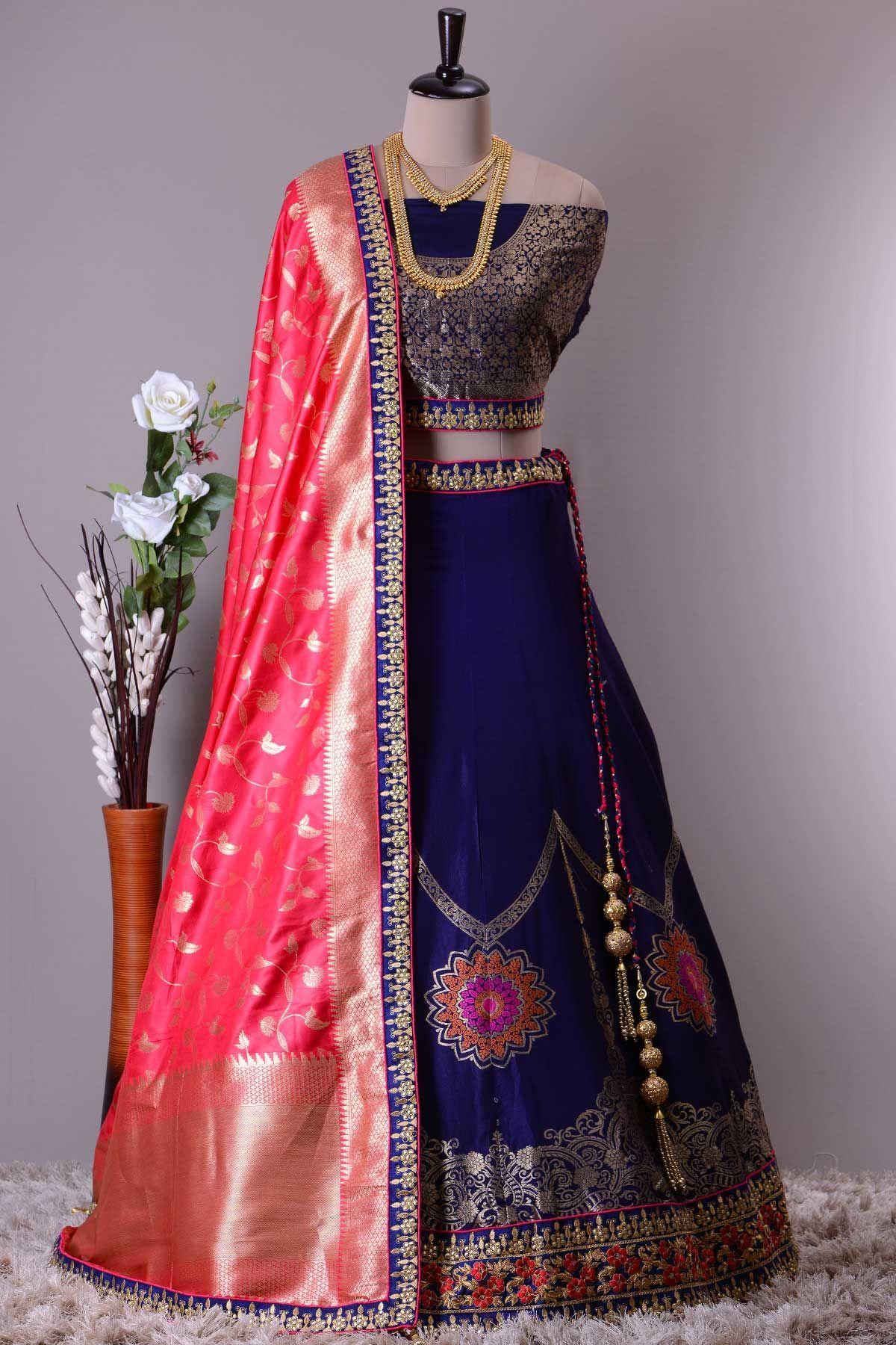 38ccba29aa3 Buy Navy Blue Zari Woven Banarasi Silk Lehenga Online