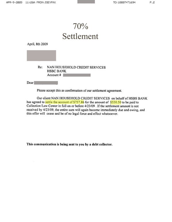 sample settlement letters