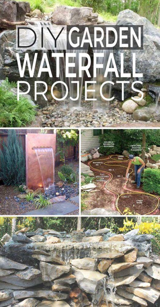 DIY Garden Waterfall Projects -   13 backyard garden pond ideas
