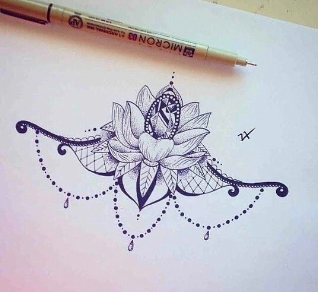 Sternum Lotus Tattoo