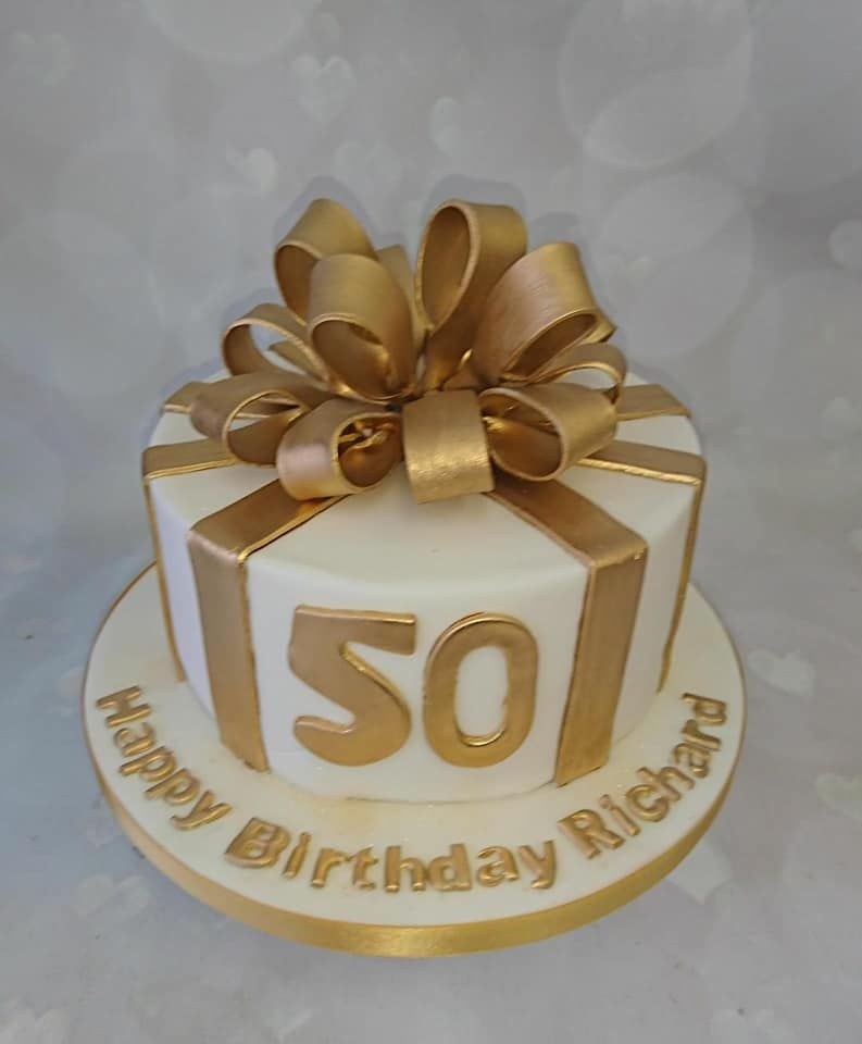 Cool Lovely 50Th Birthday Present Cake Small Birthday Cakes Present Funny Birthday Cards Online Necthendildamsfinfo
