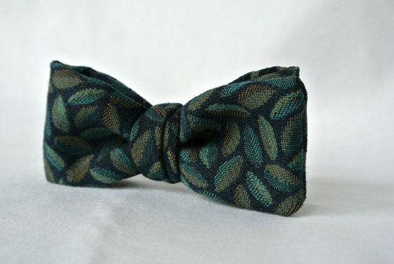 Navy Blue Print Bow Tie  Pre-tied Clip-On  Men or Boy's by ClassA