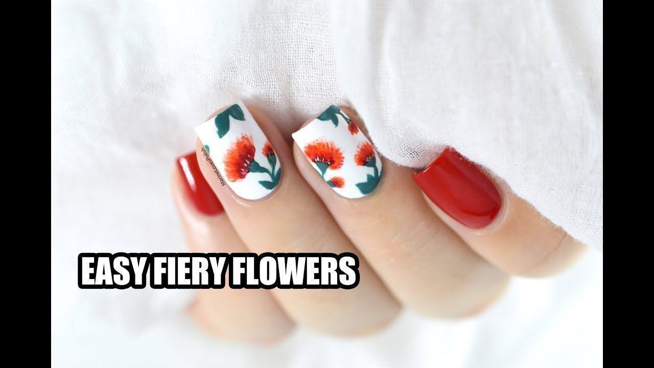 Easy Fiery Flowers Nail Art Tutorial Valentines Day Idea