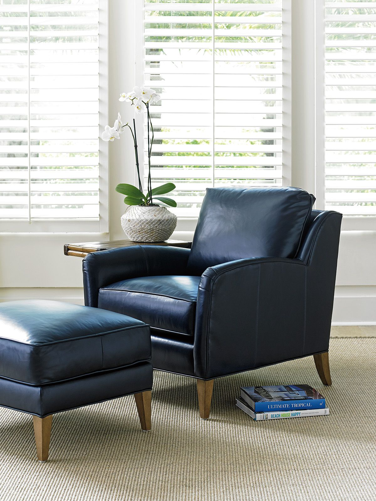 Navy Leather Accent Chair And Ottoman Tommy Bahama Home With